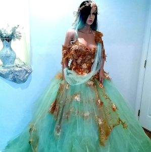 ISHANI Mint & Gold Lehenga Saree Wedding Ballgown
